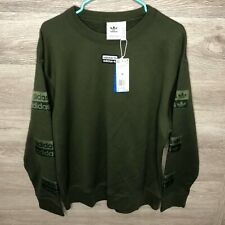 Adidas Mens Medium Olive Green Long Sleeve DRYV Pullover Sweatshirt NEW