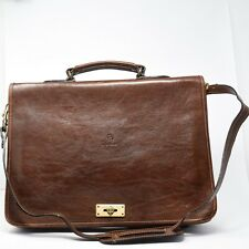 Sabani Italy Men Brown Leather Crossbody Laptop Bag