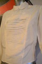 LINGE ANCIEN - Magnifique chemisier en soie brodé cousu main 1920