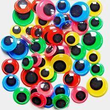 Wiggle Wiggly pelotas ojos Craft Color fondos 50 Tamaños 10 mm 12 mm 15 mm