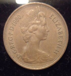 """Very Rare """"New Pence"""" 1980 2p coin with Elizabeth II"""