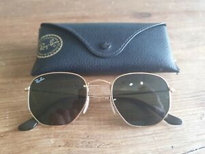 Ray Ban gold frame hexagonal sunglasses. RB3548-N 001. With case.