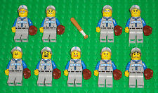 Lego Baseball MINIFIGURES Lot 9 Players People Lego Baseball Minifig Bat & Glove