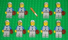 Lego Baseball MINIFIGURES Lot 9 Players People Lego Baseball Minifig Bat & Glove