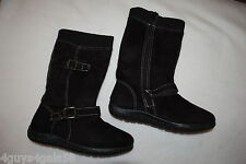 Womens TALL BLACK MOCK SUEDE BOOTS 2 Adjust Buckles RIBBED TOP CUFF Flat Sole 6
