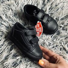 BNWT Vans Baby Black Leather Velcro Trainers Size 4 Infant