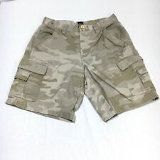 Basic Editions Men's 30 Beige Khaki Camo Camouflage 100% Cotton Cargo Shorts