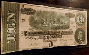 *⭐️CRISP & AUTHINTIC⭐️* 1864 T68 $10 'HORSES PULLING CANNON !