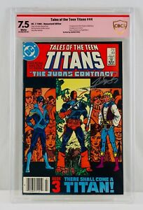 Teen Titans #44 Newsstand CBCS 7.5 Signed by George Perez First Nightwing App WP