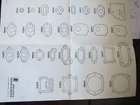 TECUMSEH FOLDING WALL DIGRAM CHART 2 CYCLE STROKE GASKETS VINTAGE NOS