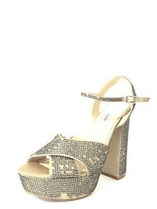 Women's Shoes Steve Madden Partytime Pewter Heels Shoe Size 9.5 M *
