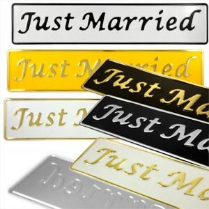 Just Married Novelty Wedding Car metal Pressed Number Plate white silver yellow
