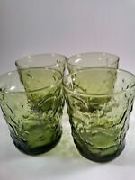 Set of 4 Vintage Emerald Green Thumbprint Drinking Glasses Juice Tumbler Raised