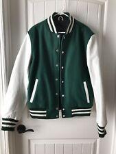 Men Blazer Coat Bomber Jacket Green White Leather Wool Size M Button Up