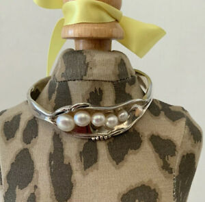 Hagit Gorali H.G. Israel Modernist Pearl Sterling Silver 925 Cuff Bracelet