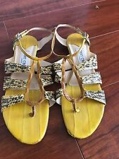 Jimmy Choo Size 38 Yellow Snakeskin Flat Strappy Sandals Authentic