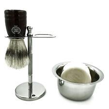 Men Shaving Drip Stand with Badger Brush and Bowl for Soap Straight Razor Zeva