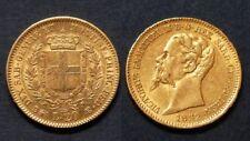 Italie 20 Lire Emanuel II 1852B TURIN - Petit tirage 45513 exp - OR 6.45 gr