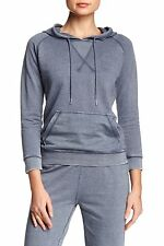 Central Park West - L - NWT $68 - Blue Distressed French Terry Hoodie Sweatshirt