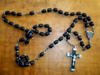 """Vintage 20"""" Black Carved Wooden Rosary Beads - Silver Tone Metal Made in France"""