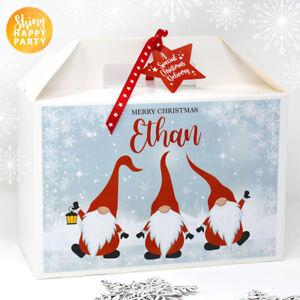 Personalised Medium & Large Boxes CHRISTMAS GNOME Kraft & White Star Snowflake