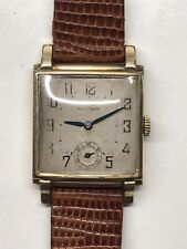 Vintage 1940s Waltham 14k Rolled Gold Art Deco Tank Mens Watch 750B Working