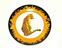 VTG SET of 4 Mid Century Modern Plates Porcelain Cheetah Floral Yellow Jungle