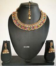 Multicolor Necklace Earring Set 290 Indian Fashion Jewelry Wedding Bridal Kundan
