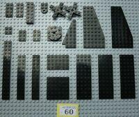 2x8 #W201-3 Lego Black Plates 2 stud 2x3 2x2 2x6 2x4
