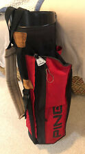 """Ping Pre Hoofer """"Sunday"""" Golf Bag  Carry/ Stand Single Strap Red & Black Canvas"""