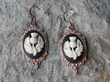 SCOTTISH THISTLE CAMEO ROSE GOLD TONE COPPER EARRINGS - UNIQUE - SCOTLAND