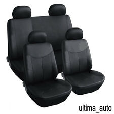 8 PCS FULL SET BLACK LEATHER LOOK SEAT COVERS FOR NISSAN NAVARA 2001-2005