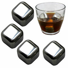 NEW 4 Stainless Steel Iced Cubes Rock Neat Drink Whiskey Stone Freezer Gel Box