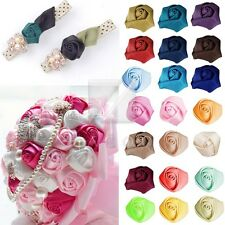 10pcs Satin Ribbon Flower Rosebuds Craft Wedding Appliques Favor DIY Lots MGRN33