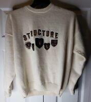 VINTAGE Structure Pullover Knit Sweater Crests Signs Appliques Men Sz XL 1990s