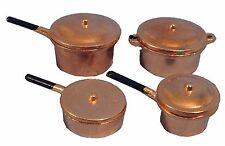 DOLLSHOUSE 1/12th SCALE COPPER KITCHEN PAN SET 4PC