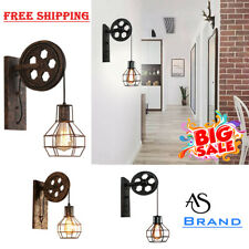 Retro Vintage Pulley Industrial Wall Light Fixture Loft Sconce Café Bar Outdoor