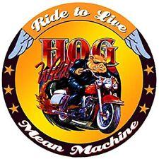 """Hog Wild Mean Machine Motorcycle 12"""" Round Metal Signs Retro Garage Man Cave"""