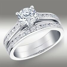 1.55 CT Round Cut Engagement Ring Matching Bridal Band Set Solid 14K White Gold