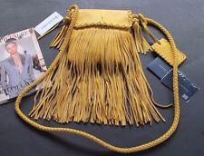 RALPH LAUREN COLLECTION SUNFLOWER YELLOW LEATHER FRINGE CROSS BODY BAG NWT