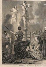 """"""" AUTODAFé TORTURE SUPPLICE FEU """" TABLEAU ROBERT FLEURY GRAVURE ENGRAVING 1866"""