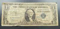 WW2 Bill Used as Letter 1935 $1 Silver Certificate Blue US CURRENCY Circulated