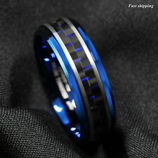 8mm Blue Tungsten Ring Black and Blue Carbon Fiber Wedding Band ATOP Men jewelry