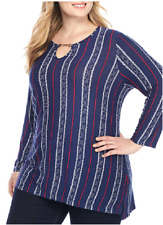 New Directions Stretch Knit Long Sleeve Embellished Key Hole Neckline Top 1X