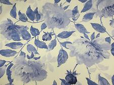 Marfíl & Vintage Azul 100 Flores% Cortina De Algodón Edinburgh Weavers Tejido