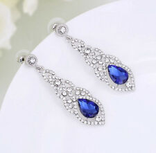 18K WHITE GOLD PLATED SAPPHIRE BLUE CUBIC ZIRCONIA LONG STATEMENT EARRINGS