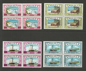 Anguilla 1968 Anguillan Ships Mount Mounted Mint Set In Blocks of 4 SG 32/35
