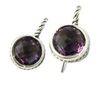 David Yurman 11mm Round Stone Drop Earrings Amethyst/Silver NWT