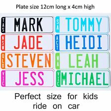 SET OF NOVELTY KIDS CUSTOM PERSONALISED LICENCE NUMBER PLATES FOR RIDE ON CARS