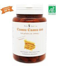 Vitamine C - Camu Camu Biologique  100 gélules de 500mg 20% Vitamine C Naturelle